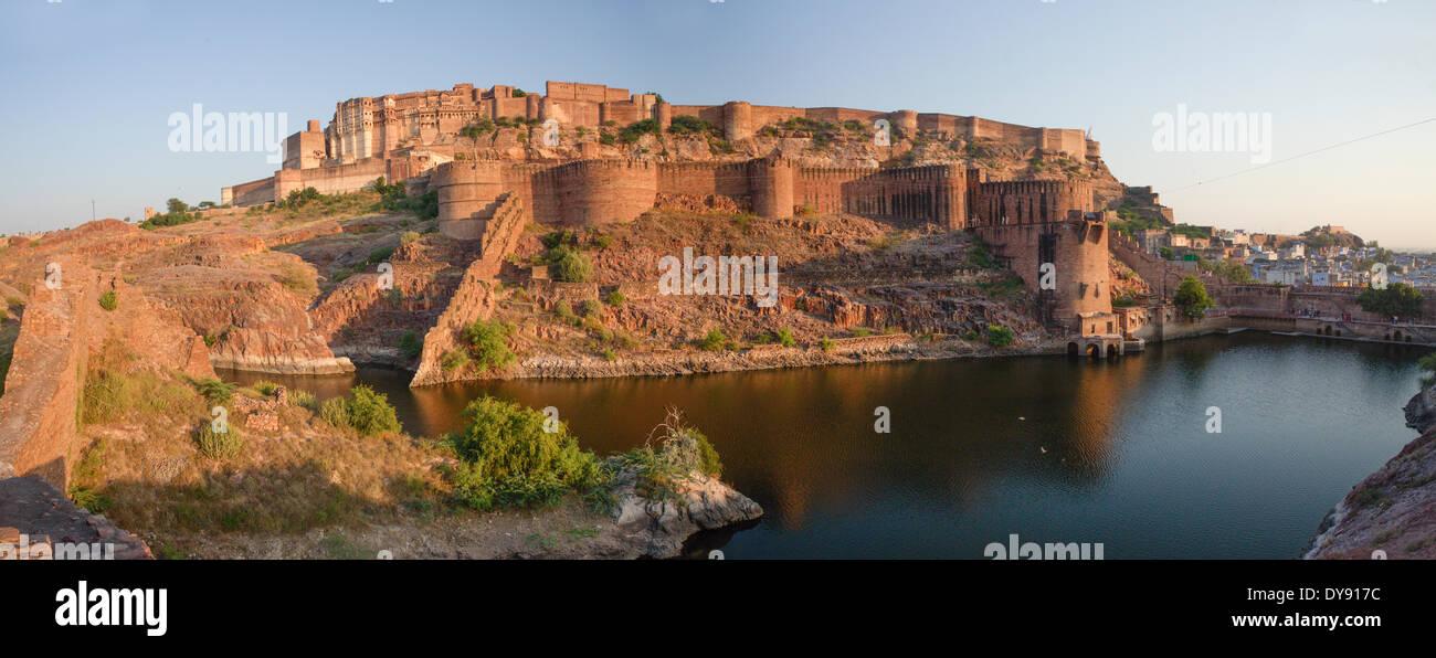 Meherangarth, fort, Jodhpur, Rajasthan, Asia, India, castle, houses, homes, - Stock Image