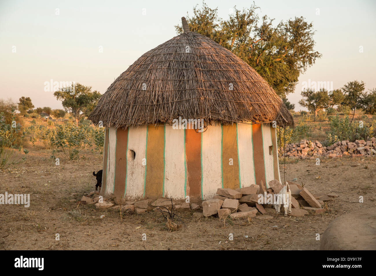 Rural, home, Setrawa, Asia, India, Rajasthan, round, house - Stock Image