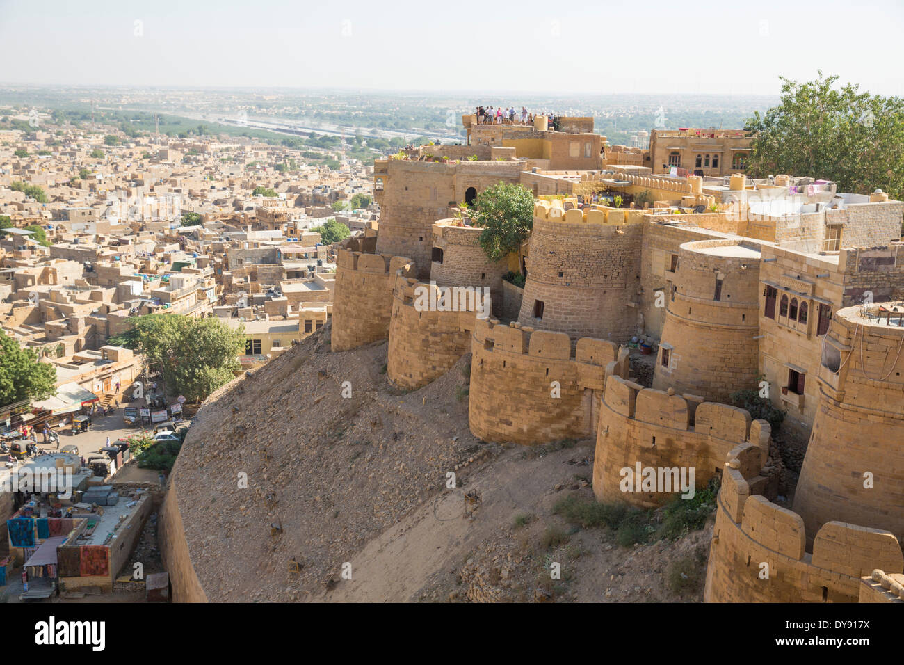 Fort, Jaisalmer, Rajasthan, military wall, bastions, Asia, India, town, city, - Stock Image