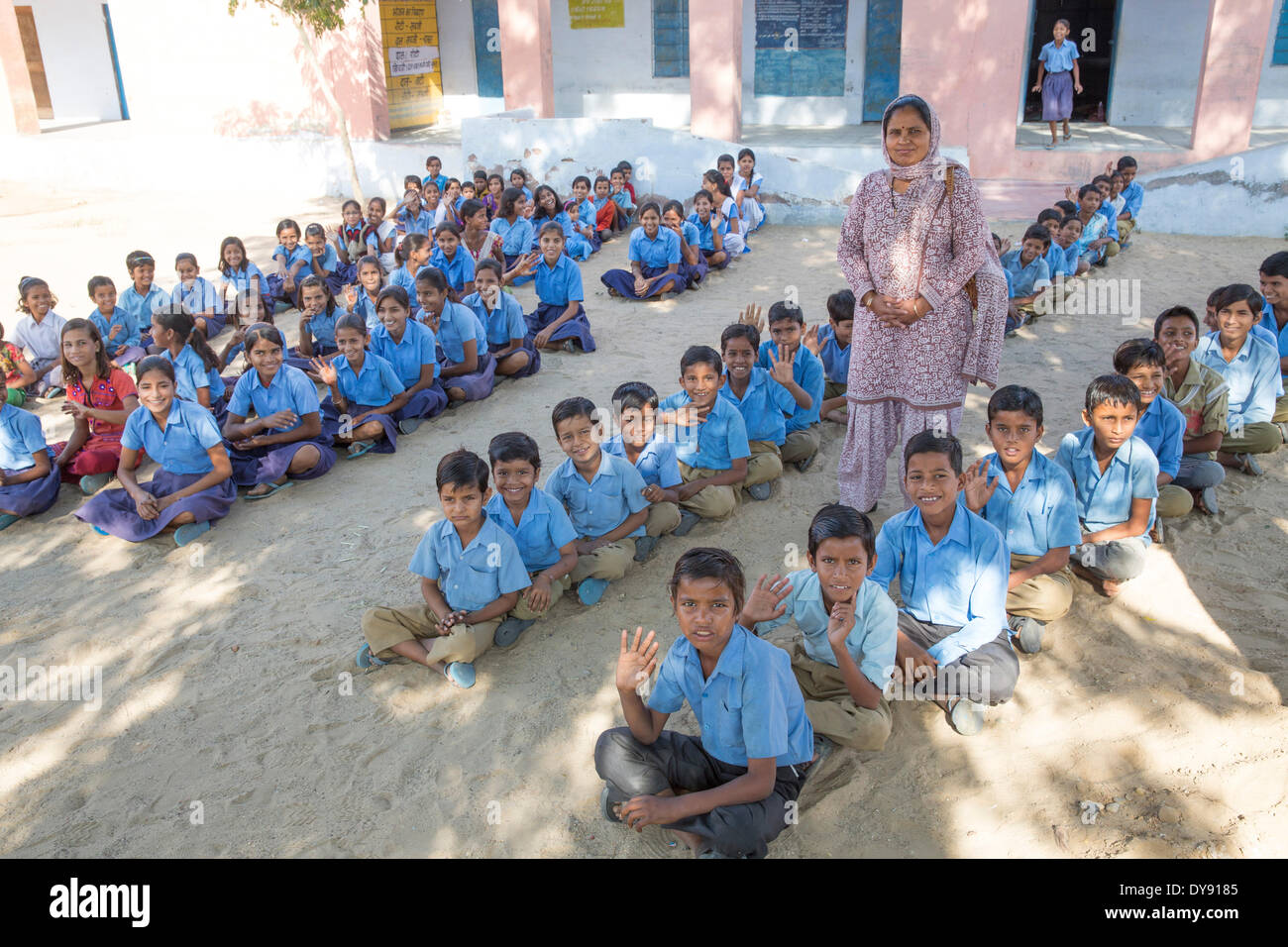 Indian, school, Asia, India, children, sit, Rajasthan, - Stock Image