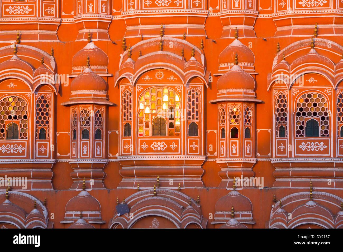 Palace of winds, palace, Rajasthan, Hawa Mahal, harem, town palace, Jaipur, Asia, India, - Stock Image