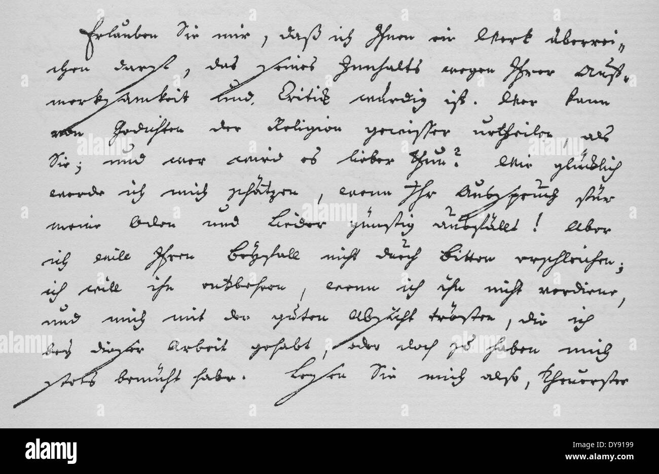 Historic manuscript, 1771, ode by Friedrich Gottlieb Klopstock, 1724 - 1803, a German poet - Stock Image