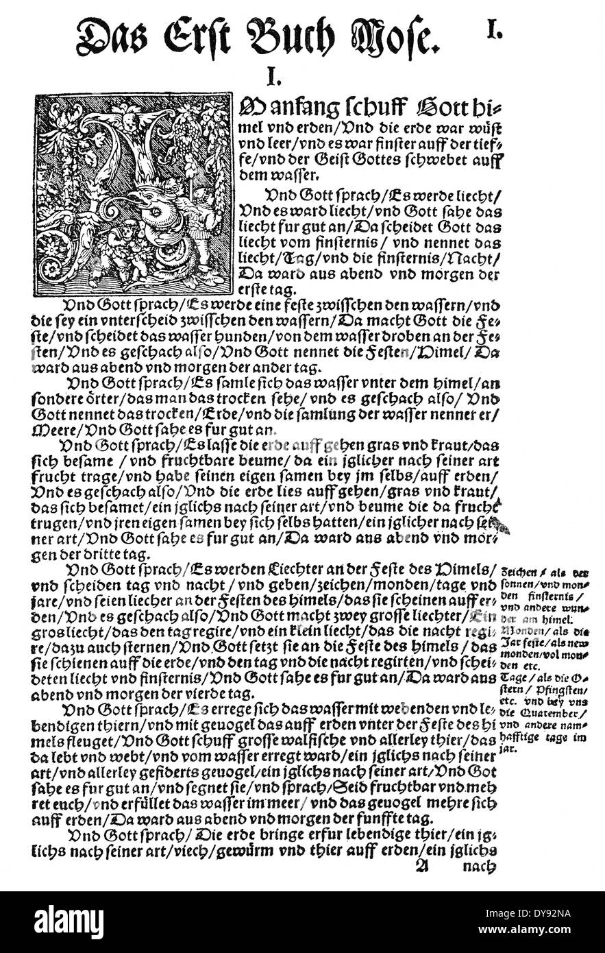 Facsimile, Print of the first page, Book of Genesis, 1534, bible translation by Martin Luther - Stock Image