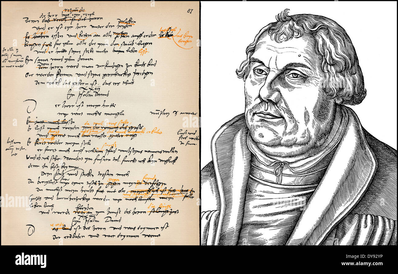 facsimile, hand-written translation of the 23rd Psalm and portrait of Martin Luther, 1483 - 1546, theologian and reformer - Stock Image