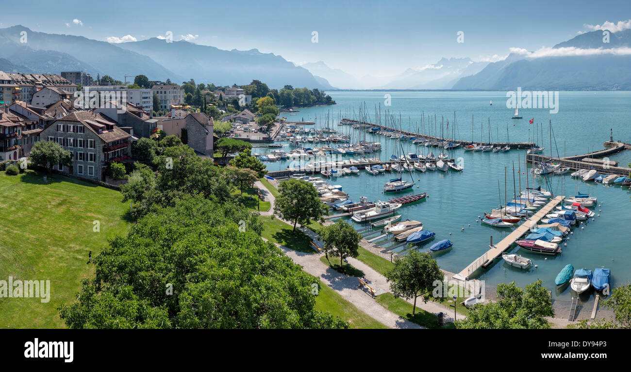 Harbour, Lake Geneva, Leman, town, village, water, summer, mountains, lake, La Tour de Peilz, Vaud, Switzerland, Europe, - Stock Image