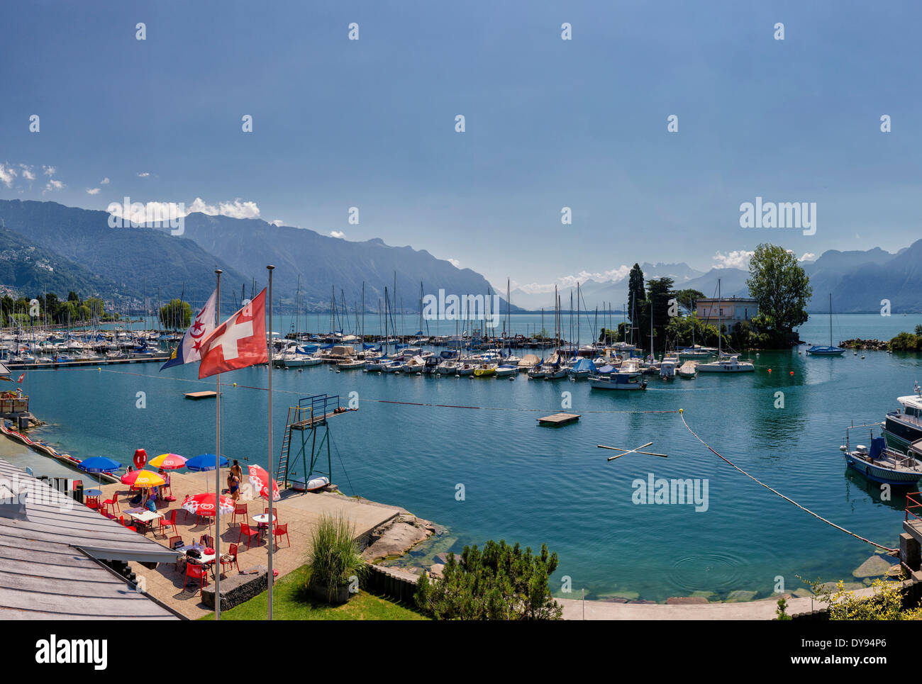 Harbour Clarens Lake Geneva Leman town village water summer mountains lake ships boat Montreux Vaud Switzerland Europe, - Stock Image