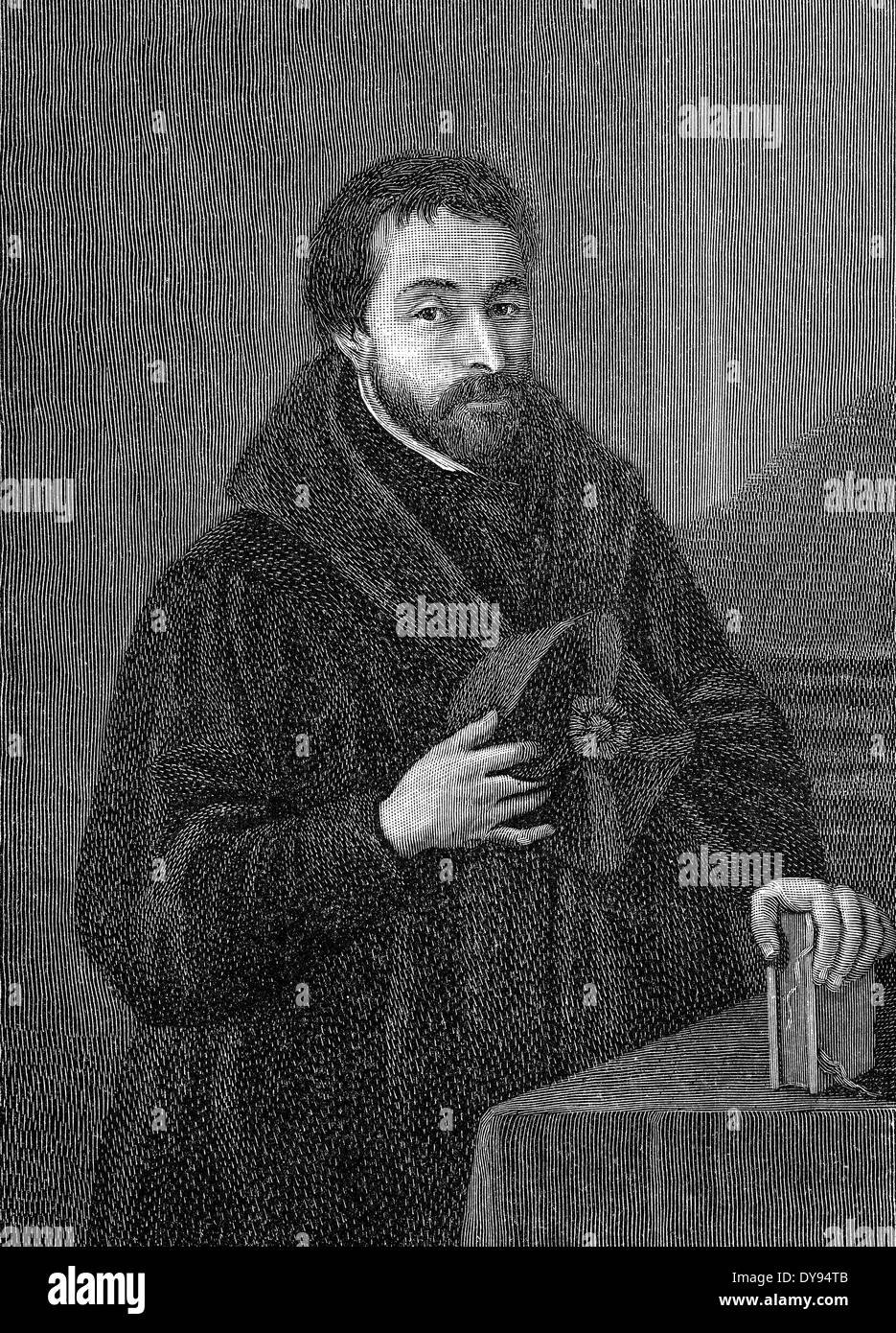 Portrait of Friedrich Spee, 1591 - 1635, a German Jesuit, moral theologian, poet, writer and witch theorist, - Stock Image