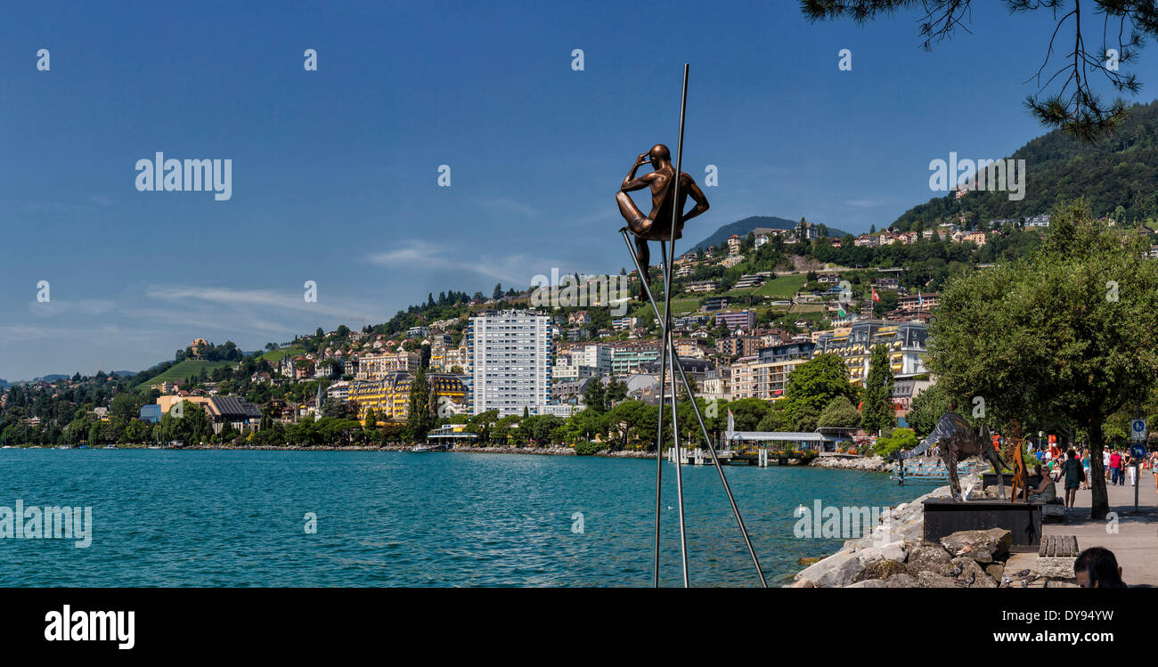Quai de la Rouvenaz, Lake Geneva, Leman, town, village, water, summer, mountains, lake, Montreux, Vaud, Switzerland, Europe, - Stock Image
