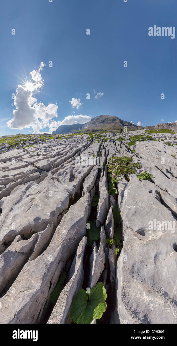 Karst, erosion, Col du Sanetsch, landscape, summer, mountains, hills, Conthey, Wallis, Valais, Switzerland, Europe, Stock Photo