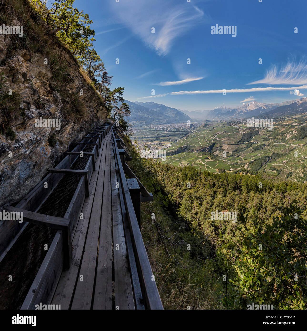 Grand Bisse de Lens, Bisse, landscape, summer, mountains, hills, Lens, Wallis, Valais, Switzerland, Europe, - Stock Image