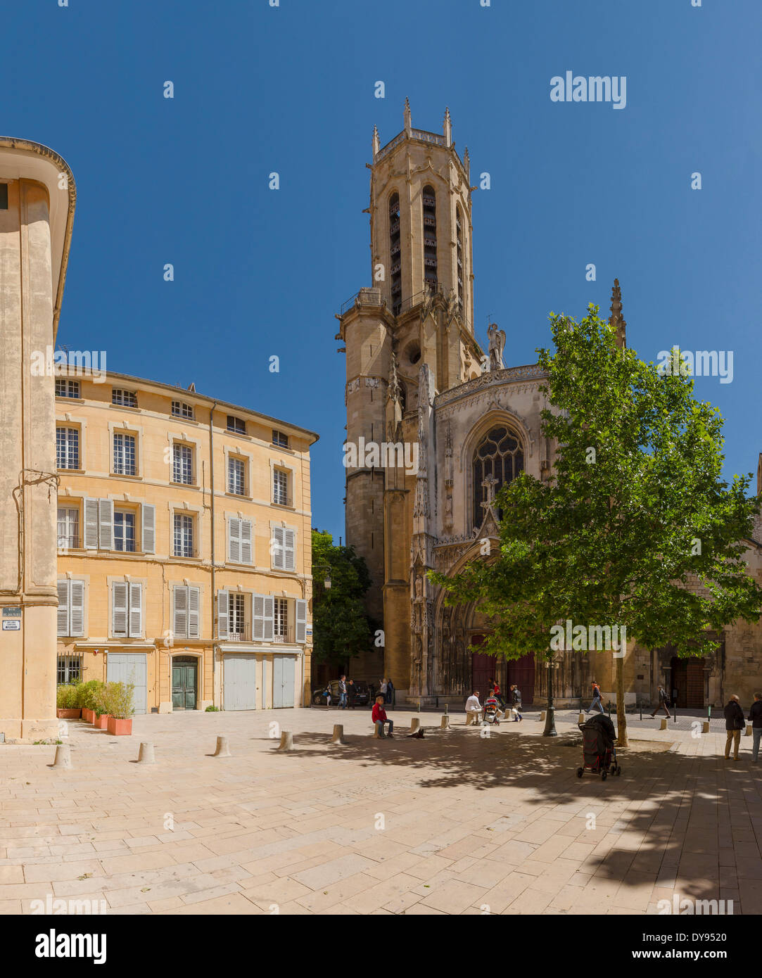 Cathedrale Sa cathedral Sa church monastery forest wood trees spring people Aix en Provence Bouches du Rhone France Europe, - Stock Image
