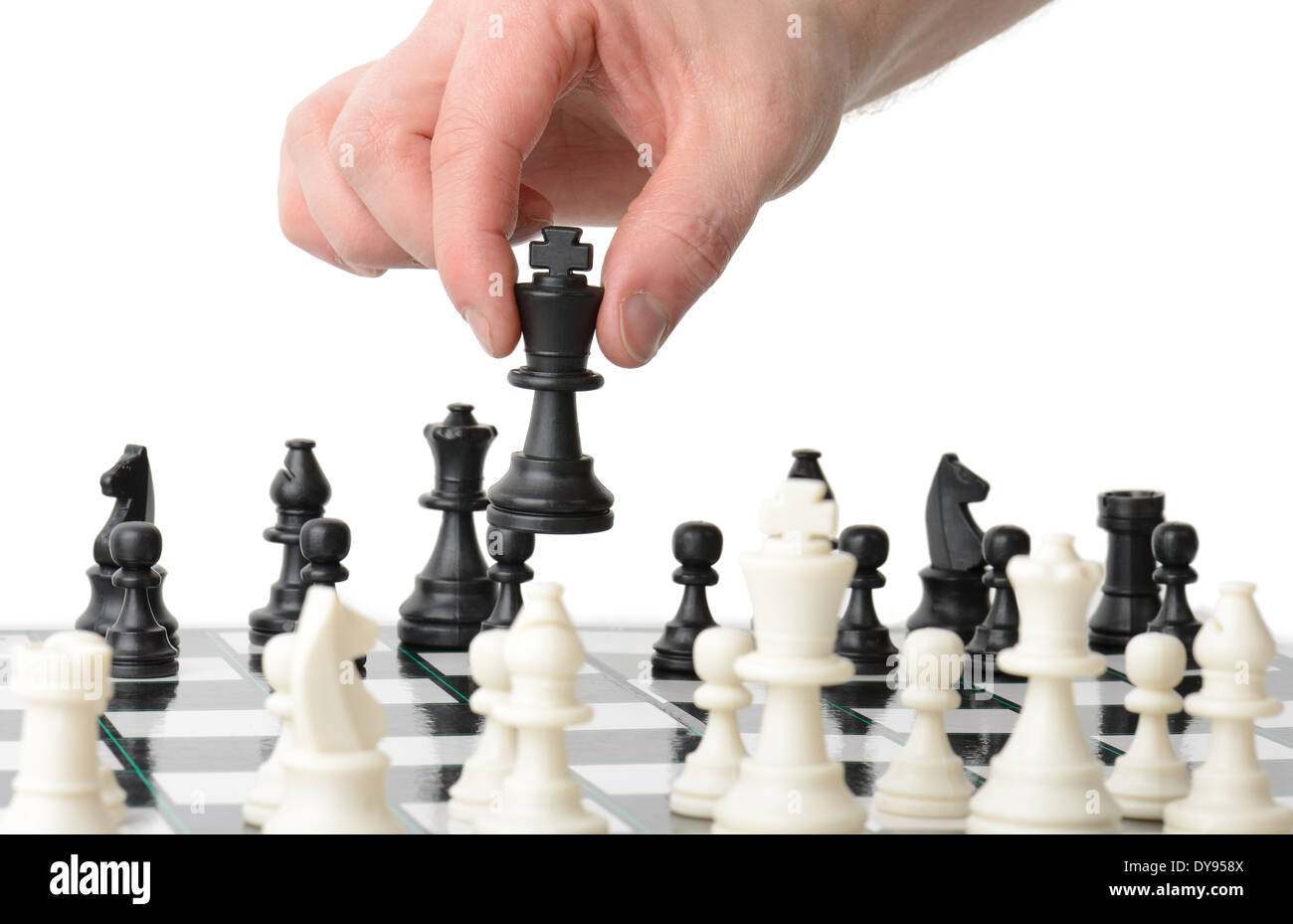 Making a strategic move isolated on a white background - Stock Image