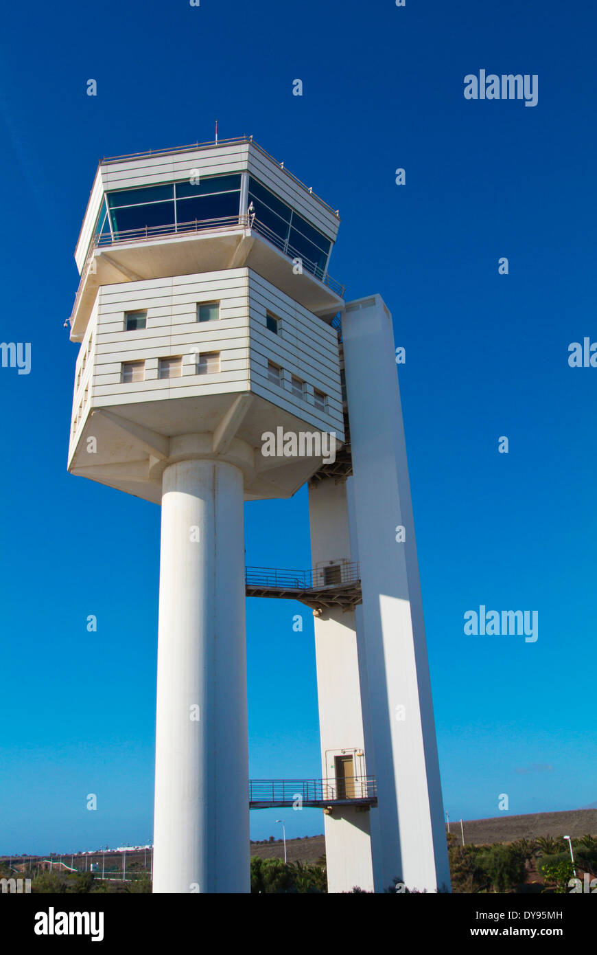 Air traffic control tower, Arrecife, Lanzarote, Canary Islands, Spain, Europe - Stock Image