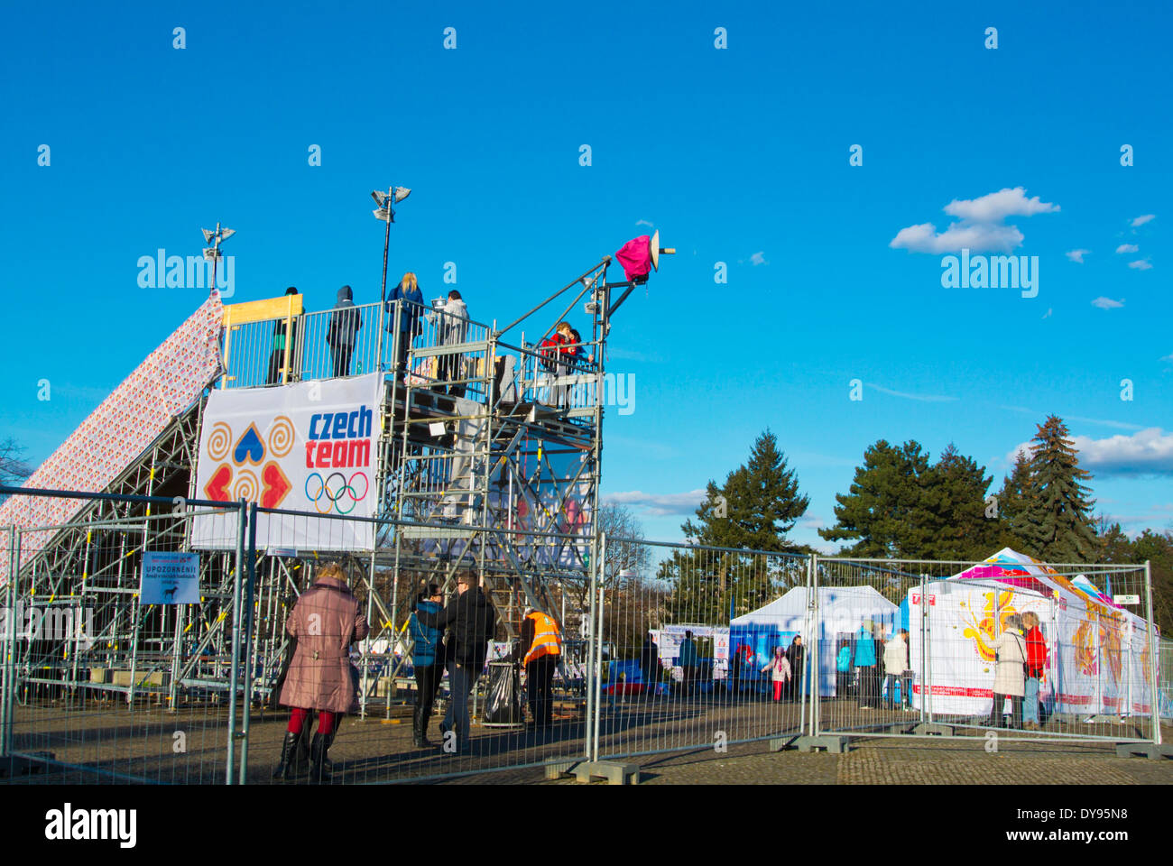 Olympic Village, Sochi 2014 winter olympics theme park, Letenske sady park, Prague, Czech Republic, Europe - Stock Image