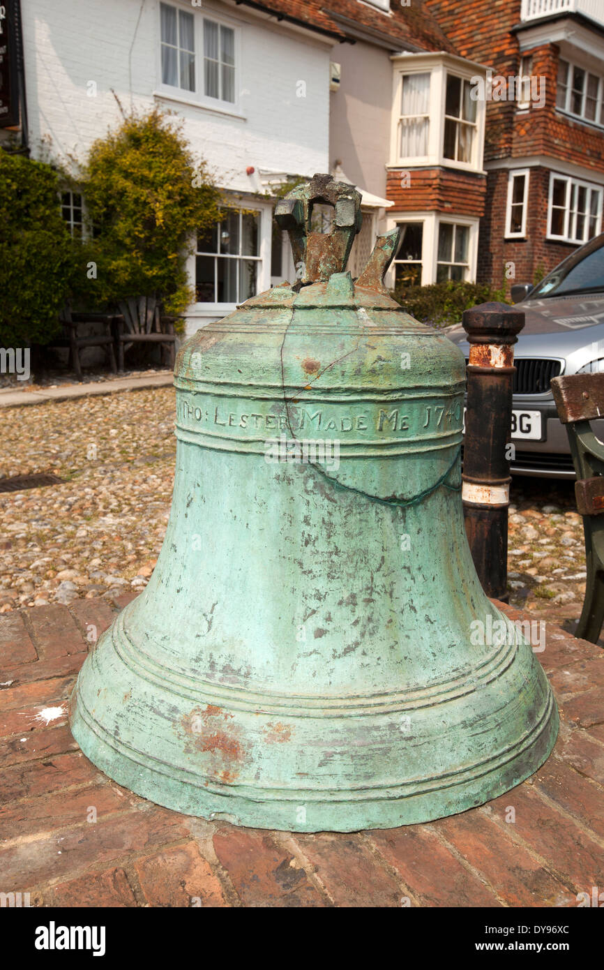 UK, England, East Sussex, Rye, Watchbell Street, old bronze 1740 church bell made by Thomas Lester - Stock Image