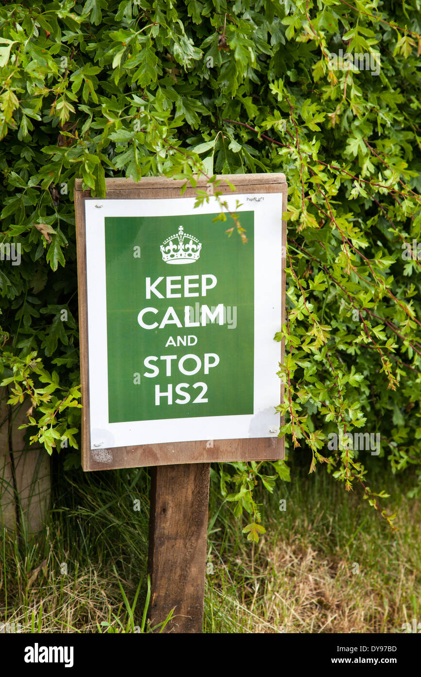 A poster saying keep calm and stop HS2 protesting against the building of the High Speed rail line (HS2) - Stock Image