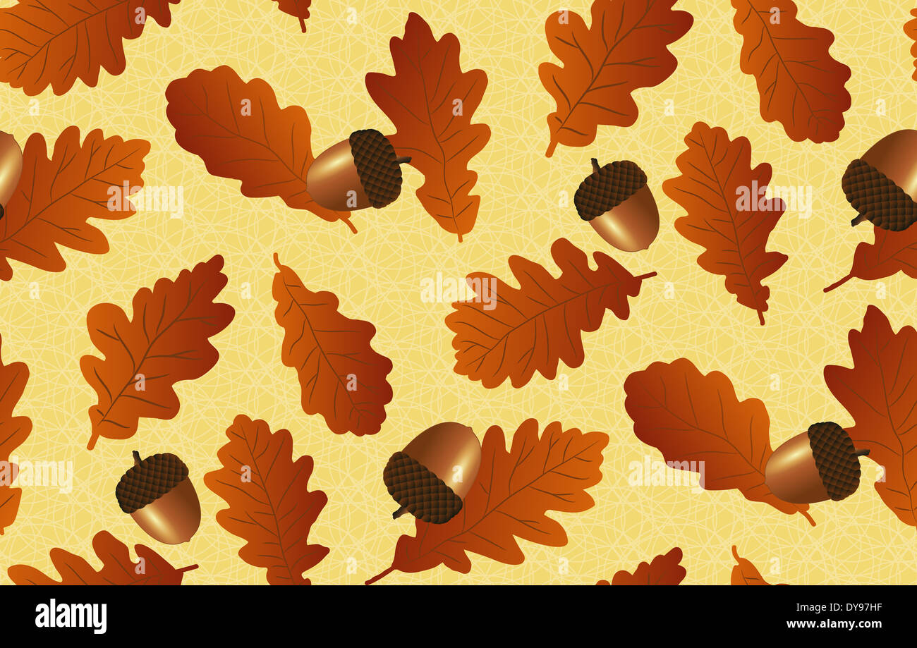 Seamless background with oak leaves and acornsΠ- Stock Image