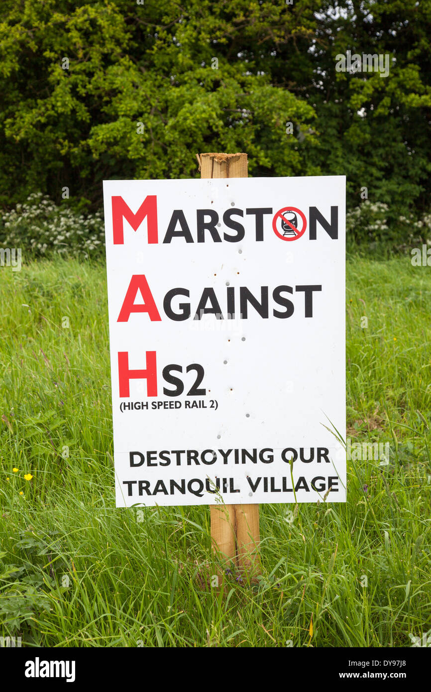 A poster protesting against the building of the High Speed rail line (HS2) - Stock Image
