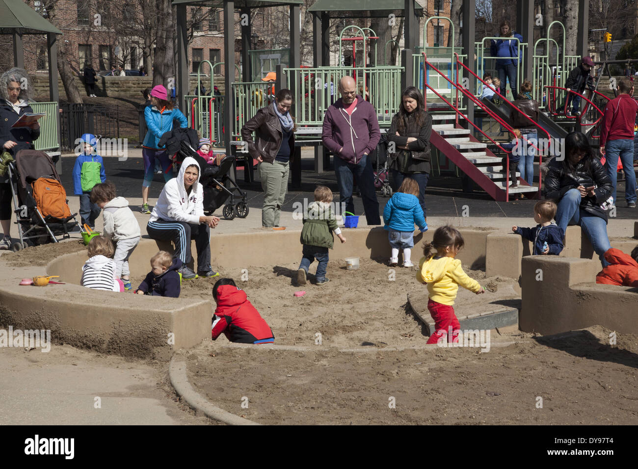 The busy sandbox at the playground in Prospect Park, Park Slope Brooklyn, NY. - Stock Image