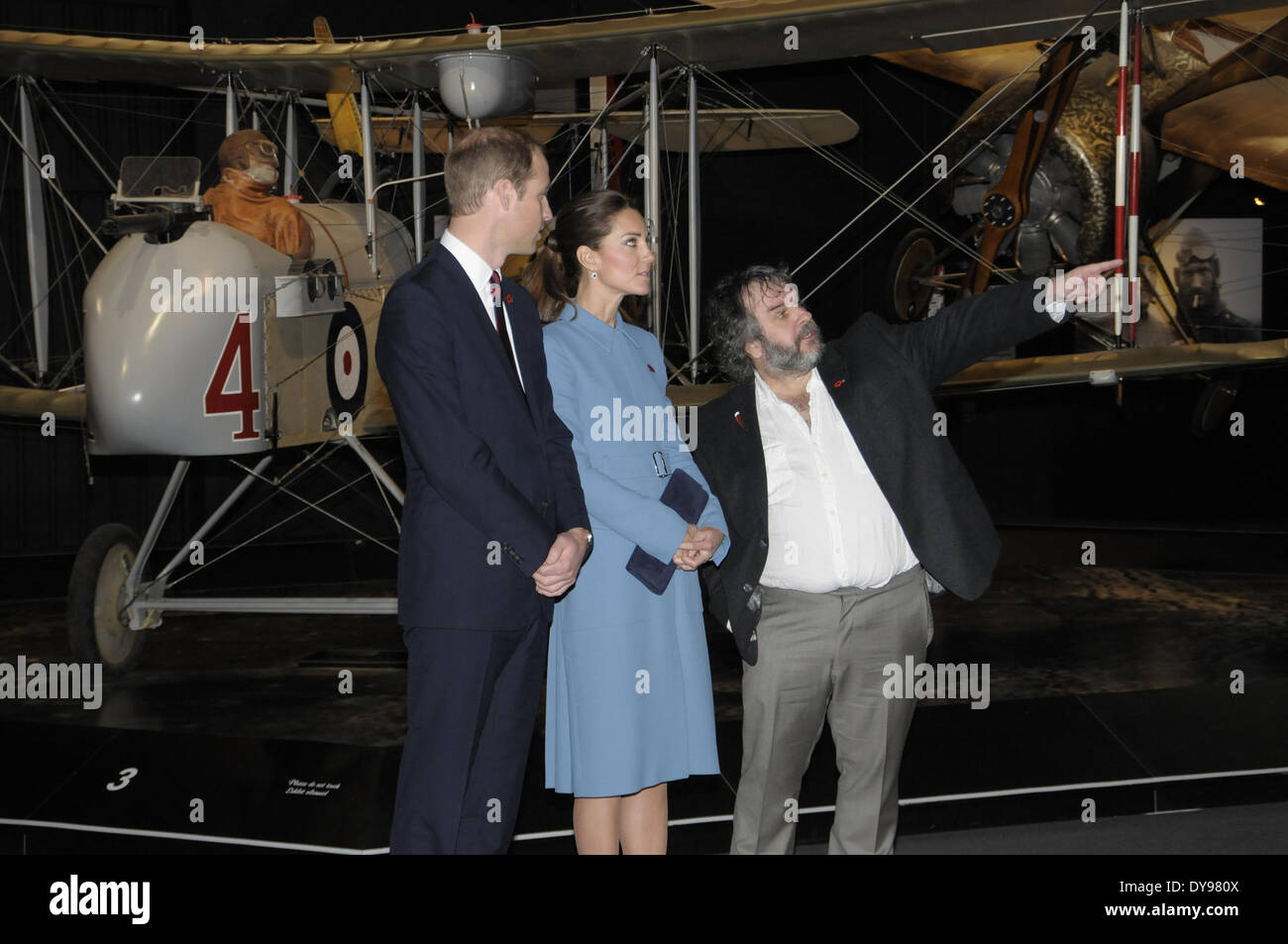Blenhiem, New Zealand. 10th Apr, 2014. Picture released by New Zealand Government House shows Britain's Prince William (L) and his wife Catherine (C) visiting the Omaka Aviation Heritage Centre with film director Peter Jackson, in Blenhiem, New Zealand, April 10, 2014. Credit:  New Zealand Government House/Xinhua/Alamy Live News - Stock Image