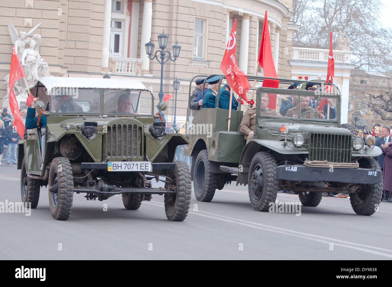 Odessa, Ukraine. 10th April, 2014.  Reconstruction parade April 10, 1944, dedicated to the liberation of Odessa from the German fascist invaders Credit:  Andrey Nekrasov/Alamy Live News - Stock Image