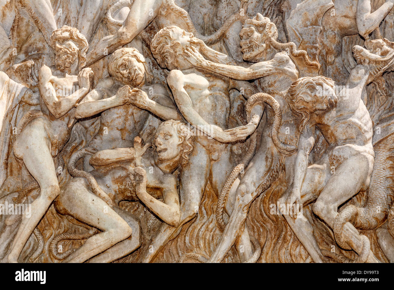 Bas Relief (The Last judgement ) On The Facade of The Duomo, Orvieto, Italy - Stock Image
