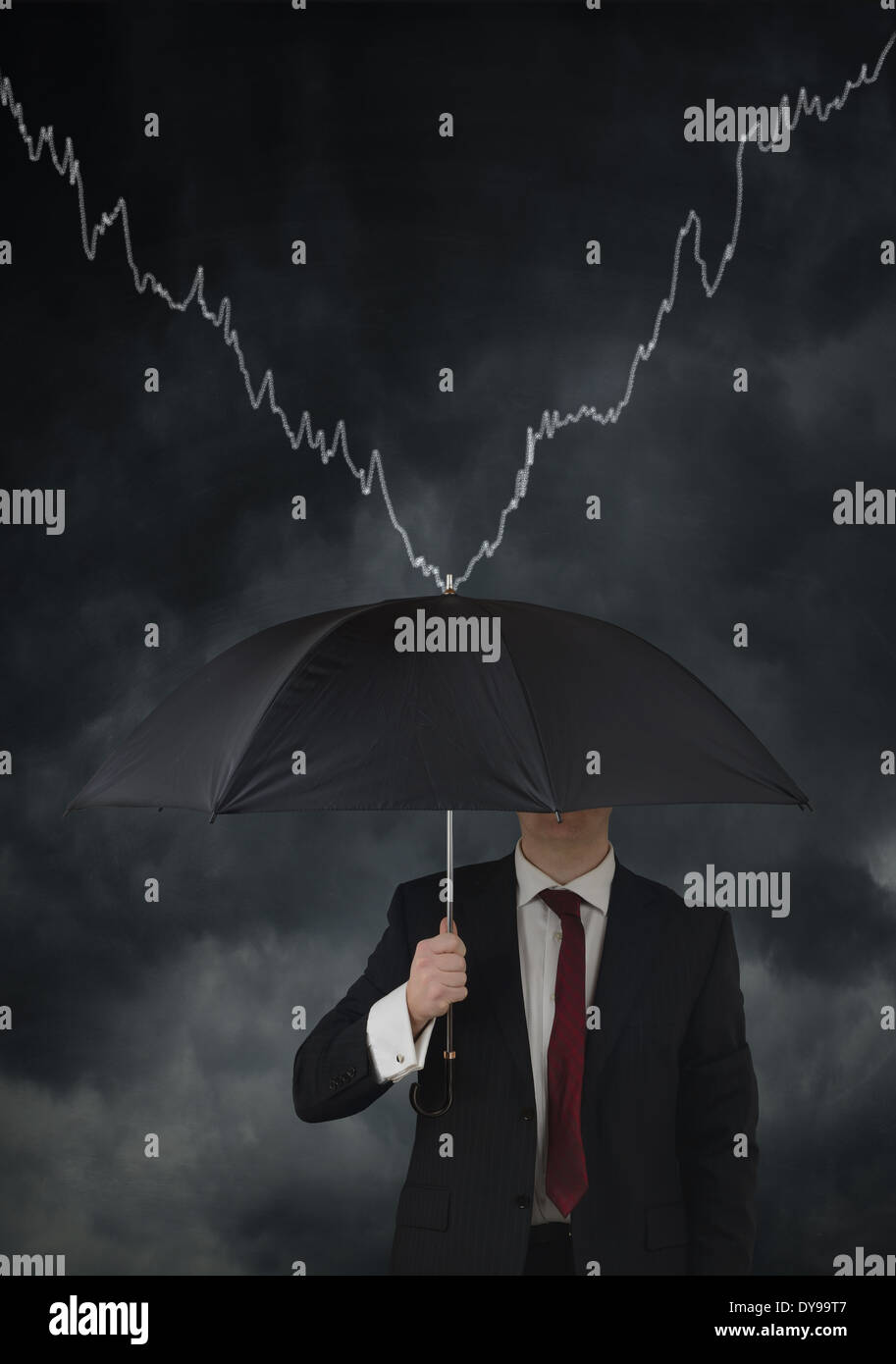 concept for financial protection until recovery, man holding umbrella - Stock Image