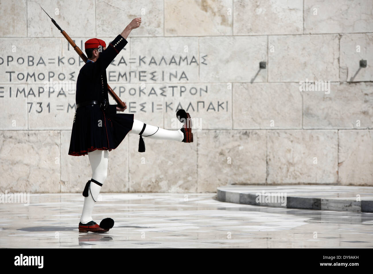 Athens, Greece. 10th Apr, 2014. Evzones perform the Changing of the Guard Ceremony at the Tomb of the Unknown Soldier Stock Photo