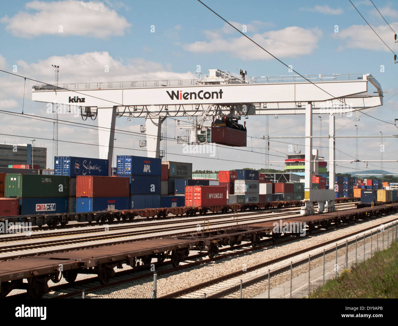 The Container Railway Terminal in Vienna, Austria. - Stock Image