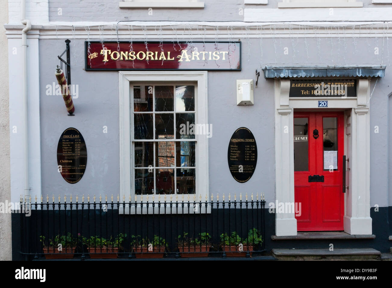 A barbers or hairdressers in Holt, Norfolk. - Stock Image