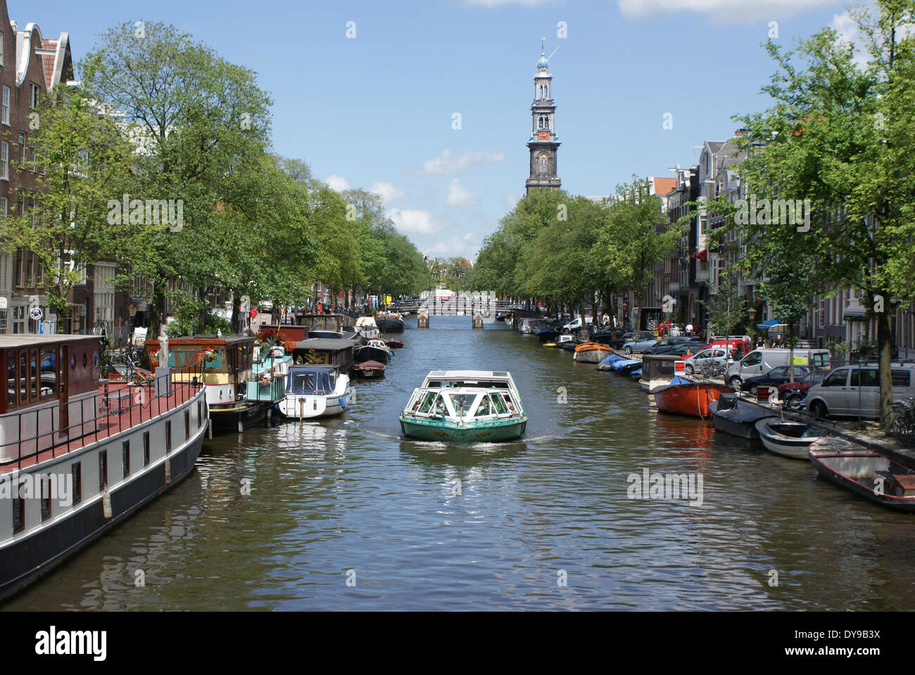 Prinsengracht in the old town of Amsterdam, Netherlands, Europe - Stock Image