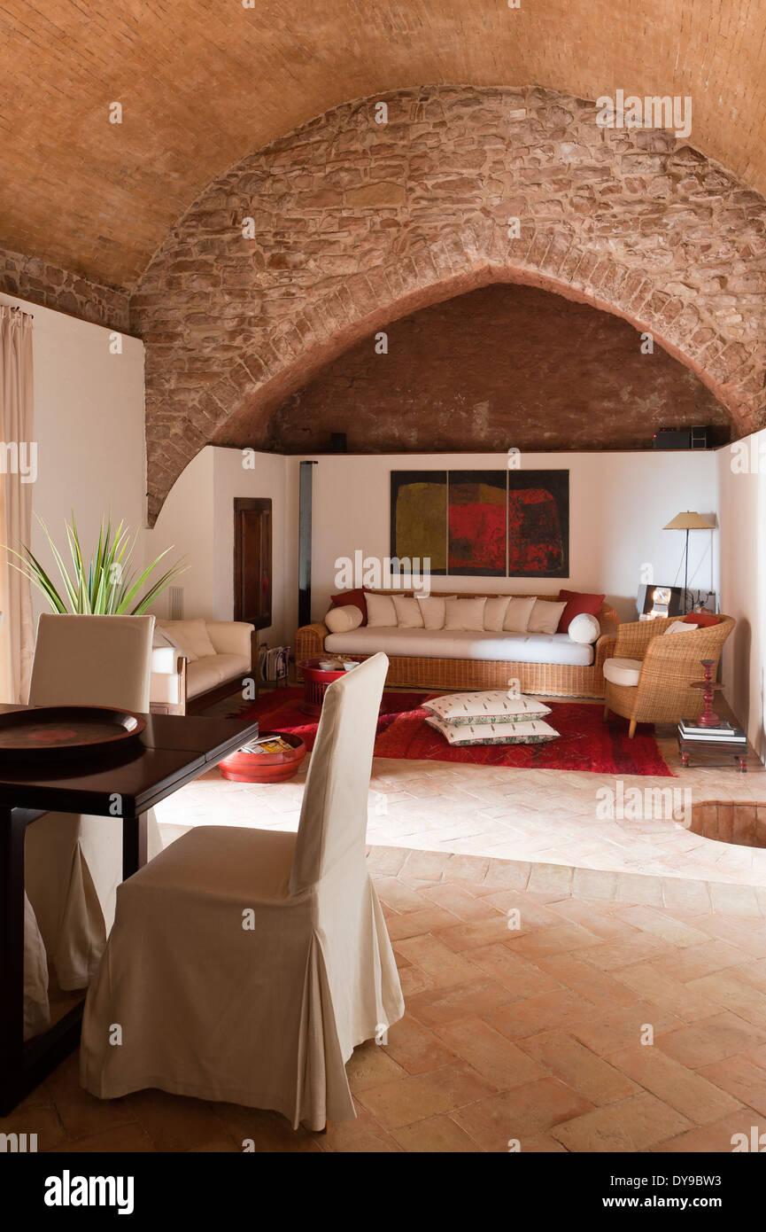Arredare Open Space stone living room stock photos & stone living room stock