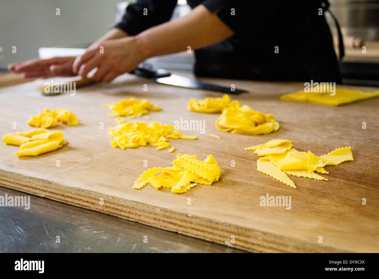 Cooking Italian pasta in Casa Artusi, Forlimpopoli, Emilia Romagna, Italy - Stock Image