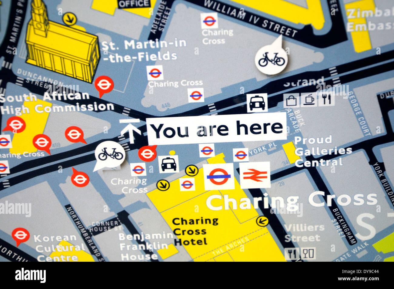 London, England, UK. Tourist map - \