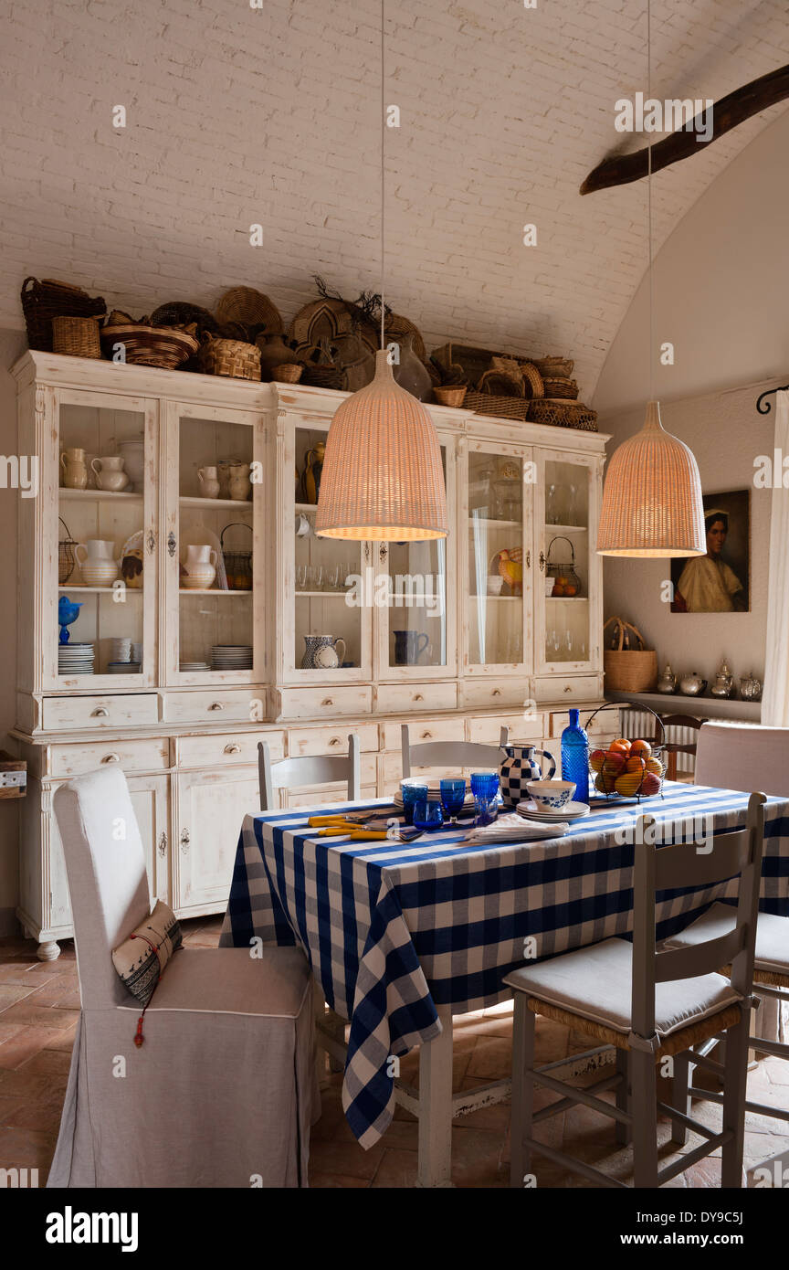 Rustic Country Kitchen With French Style Cabinets Checked Blue Stock Photo Alamy