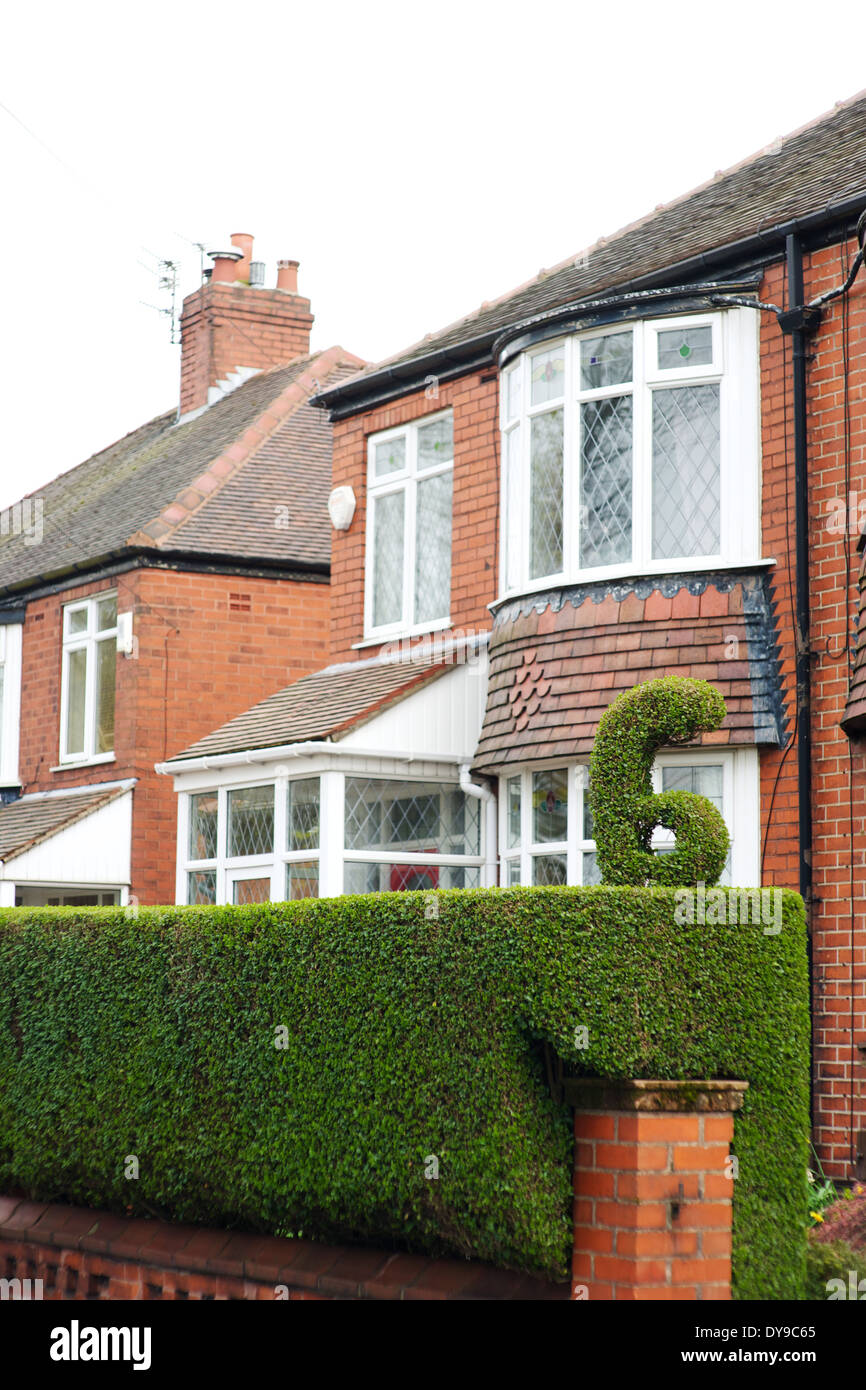 house number carved into hedge - Stock Image