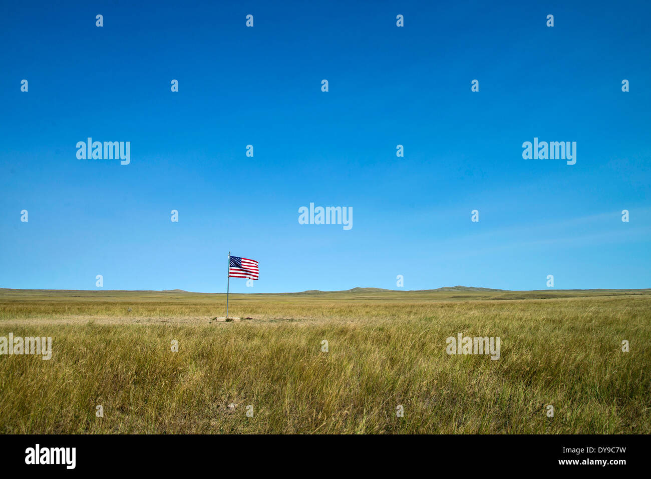 Actual, geographic, center, middle, South Dakota, USA, United States, America, flag - Stock Image