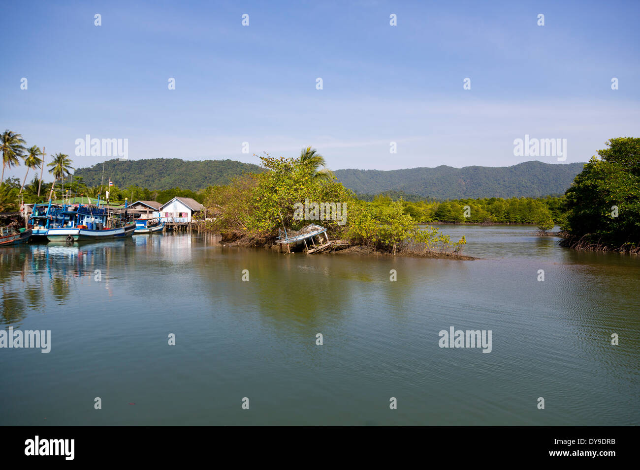 View over the Fishing Village Salak Phet on Ko Chang, Thailand - Stock Image