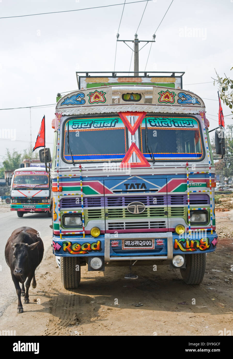 Highly decorated Nepali truck, Pokhara, Nepal. - Stock Image