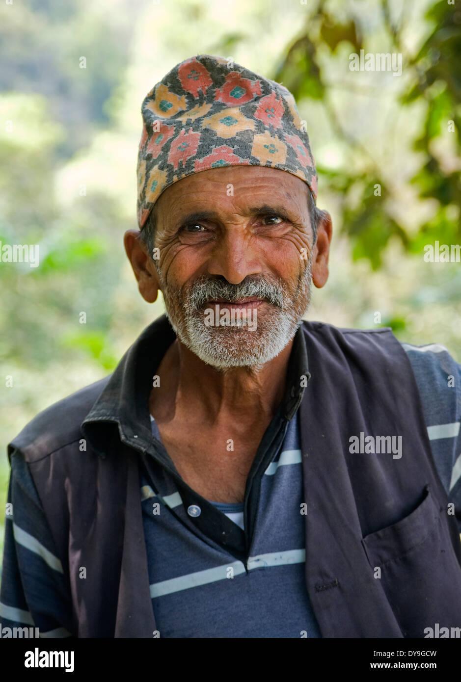Nepali hill farmer, Pokhara, Nepal. - Stock Image