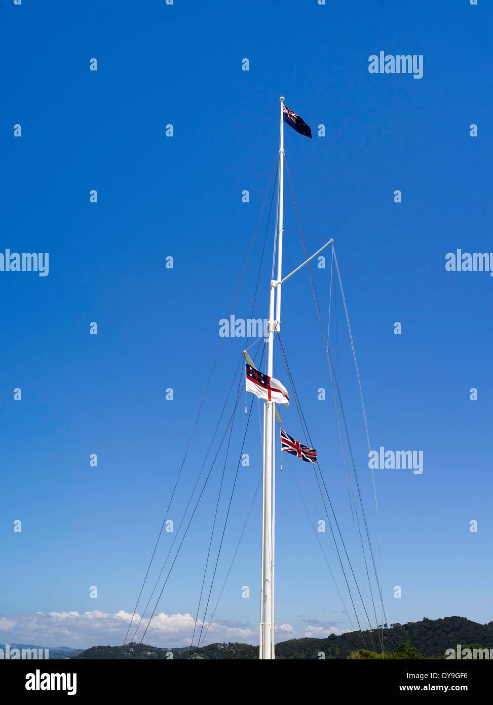 Flagpole at the historic Waitangi Treaty Grounds, Bay of Islands, Northland, New Zealand. Stock Photo