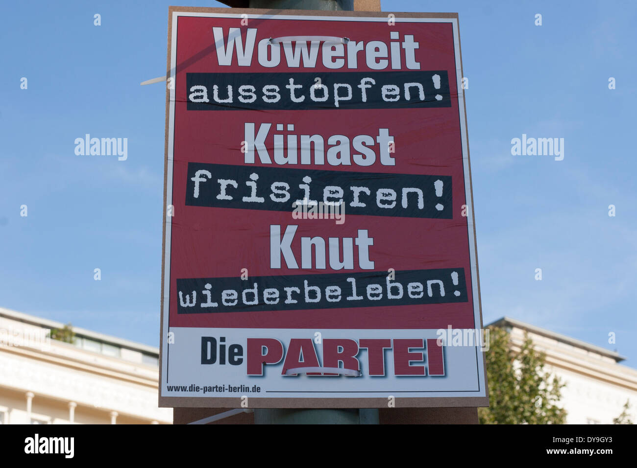 Election poster (Die Partei) in Berlin, Germany. Stock Photo