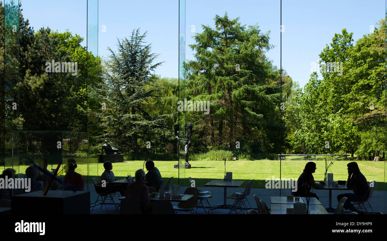 UK, England, Norfolk, Norwich, Sainsbury Centre for Visual Arts, sculptures outside restaurant - Stock Image