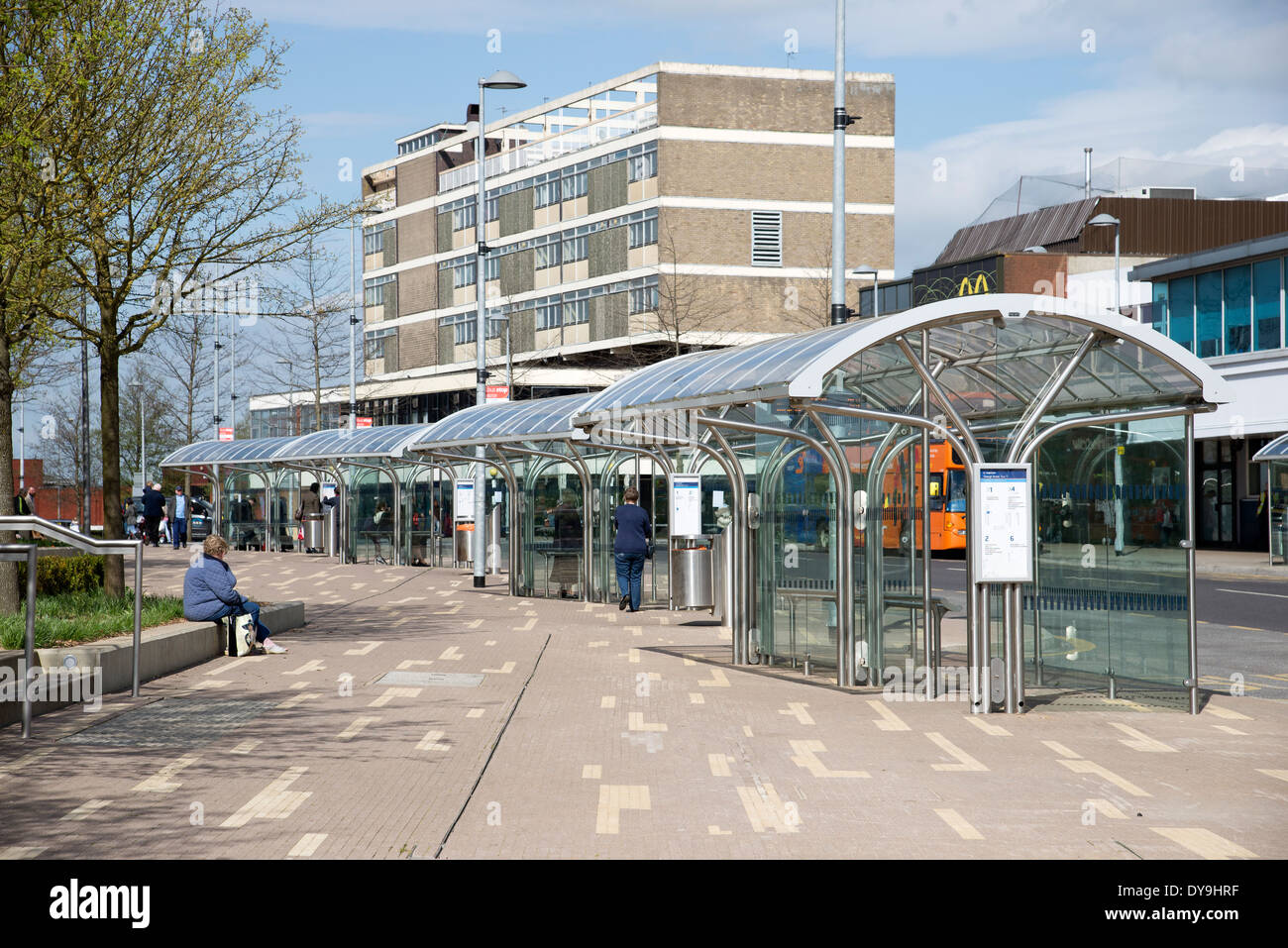 Bus shelters in Corby town centre Northamptonshire UK - Stock Image