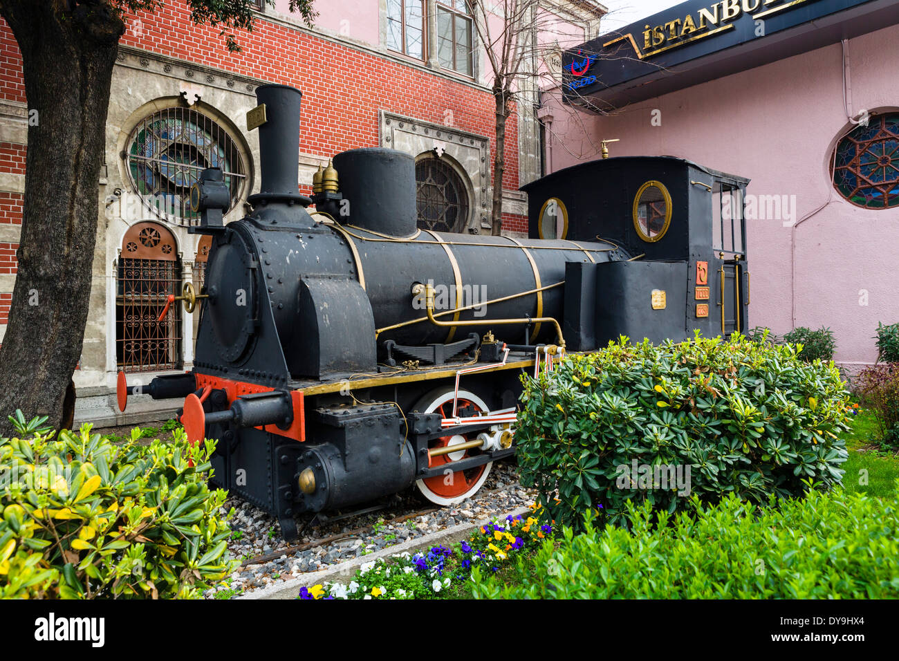 Old steam engine outside Sirkeci Station, the former eastern terminus of the Orient Express, Eminonu district, Istanbul,Turkey - Stock Image