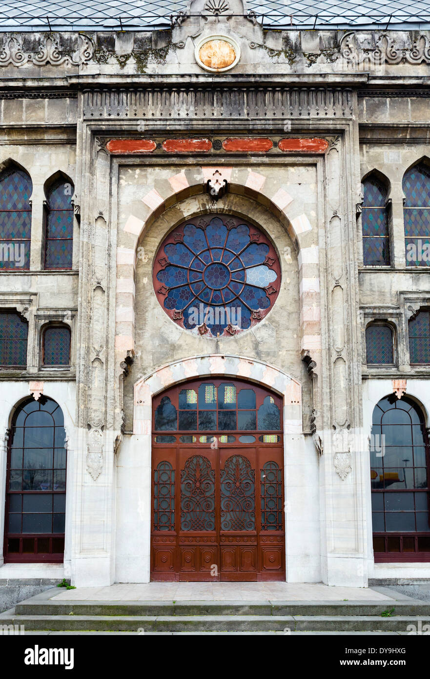 The crumbling facade of Sirkeci Station, the former eastern terminus of the Orient Express, Eminonu district, Istanbul,Turkey - Stock Image