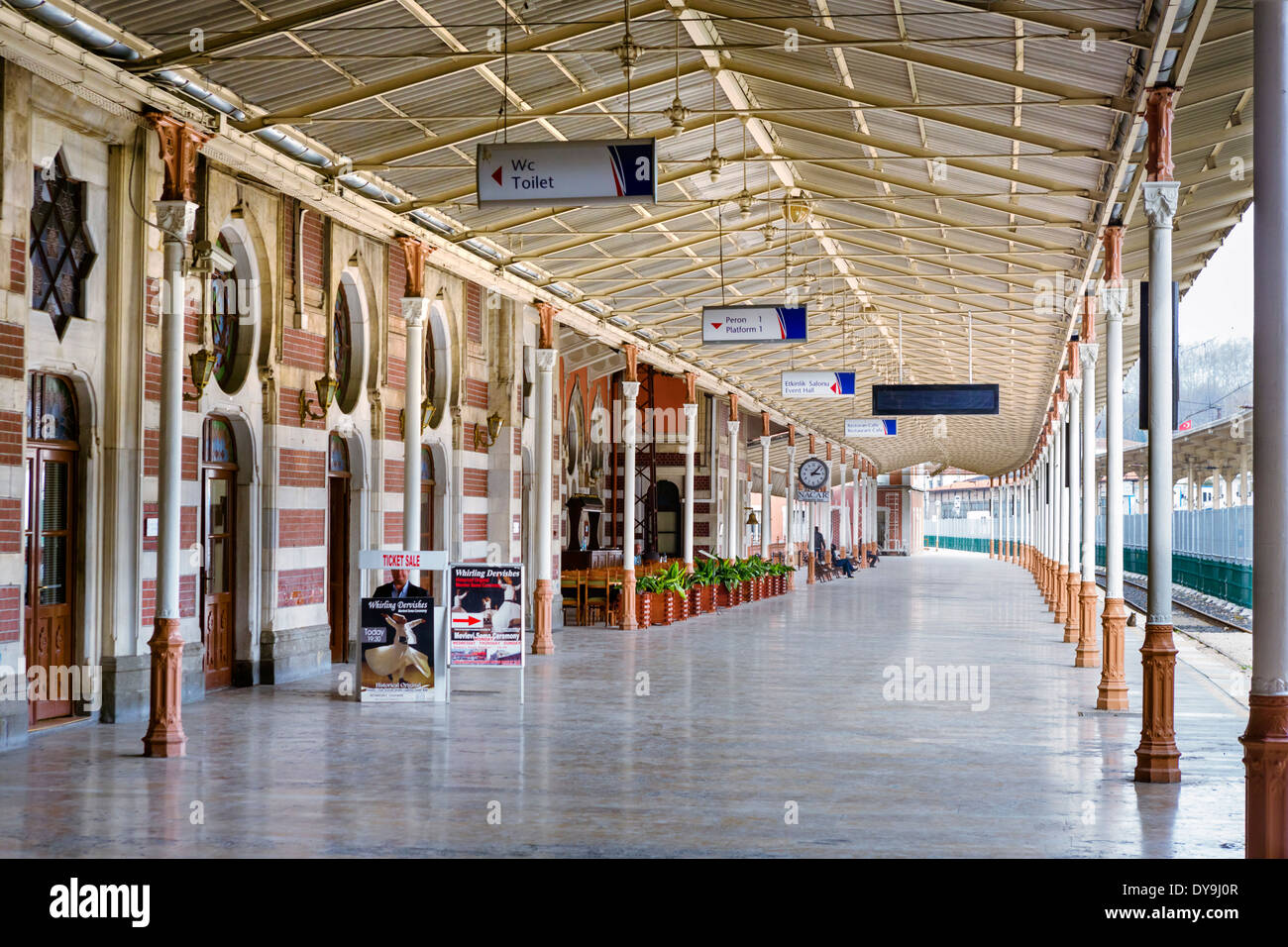Platform in the old part of Sirkeci Station, former eastern terminus of the Orient Express, Eminonu district, Istanbul,Turkey - Stock Image