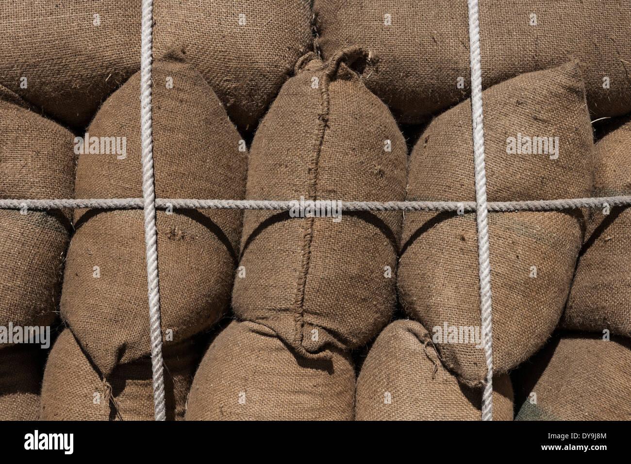 Tied sacks. - Stock Image