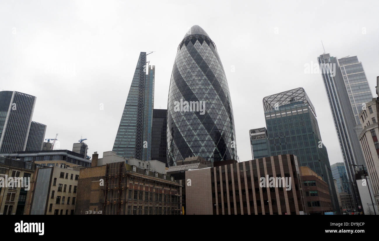 City of London skyscrapers gerkin gherkin cheesegrater on a dull grey day  in winter in Central London UK  KATHY DEWITT - Stock Image