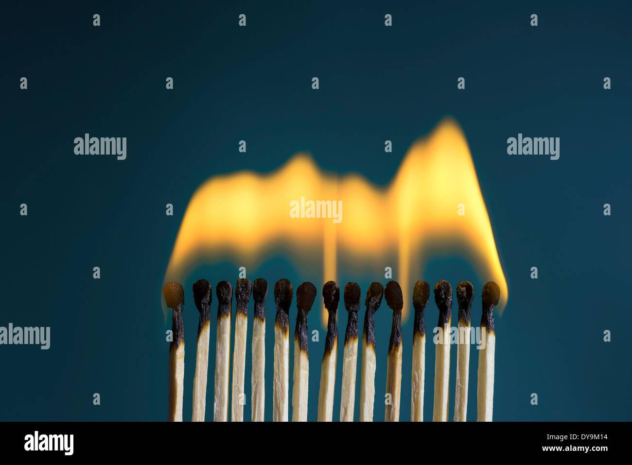 Burning Matches - Stock Image